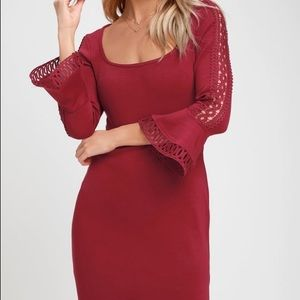 Charismatic Burgundy BellSleeve Bodycon Mini Dress